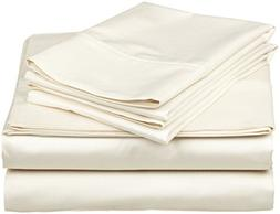 Ivory Solid 4PCs Bed Sheet Set King Size  Easy Fit Super Ric