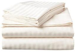IVORY STRIPE SHEET SET KING SIZE 1000 THREAD COUNT EGYPTIAN