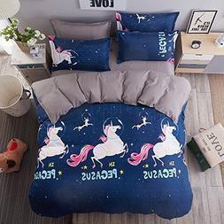 4pcs Kids Beddingset Duvet Cover Flatsheet Pillowcase No Com