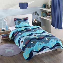 Kids Bedspread Quilts Set for Teens Boys Girls Bedding Set,