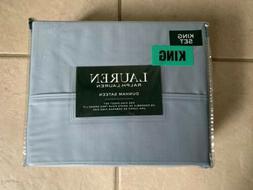 Ralph Lauren KING BLUE MIST Sheet Set Dunham Sateen 100% Cot