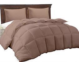 King Size Comforter - Solid Squared Duvet Insert Brown - Sof