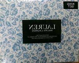 Lauren King Dusty Blue Floral Toile 4 Pc Sheet Set