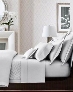 Ralph Lauren KING Flat Sheet BEDFORD JACQUARD Classic White