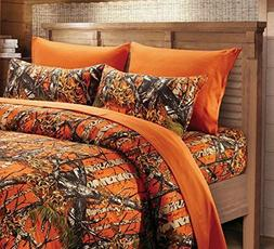 6 Piece King Orange Sheet Set Reversible Woodland Camo / Sol