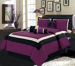 7 Piece KING Size DARK PURPLE / BLACK / WHITE Color Block MI