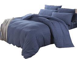 Ningkotex King Queen Jersey Cotton Duvet Cover Set Denim Blu