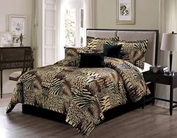 7 Piece KING Safari Micro Fur Comforter set - Zebra, Giraffe