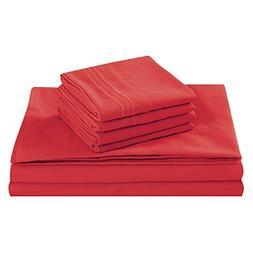 King Size Bed Sheet Set, Red, 100% Soft Brushed Microfiber,