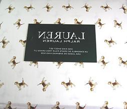 Lauren 4 Piece King Size Sheet Set Beagle Dogs 100% Cotton