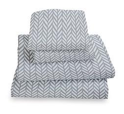 Where The Polka Dots Roam King Sheet Set Blue Gray Herringbo