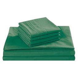 King Size Bed Sheet Set, Green, 100% Soft Brushed Microfiber