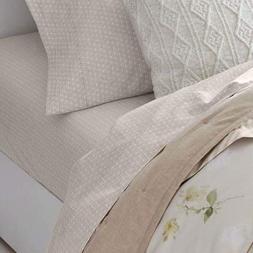 RALPH LAUREN King Size Sheet Set Lakeview Lattice/Cream 100%