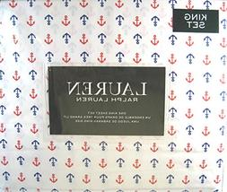 Lauren King Size Sheet Set Nautical Anchors Navy and Red 100