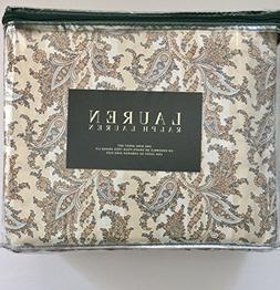 Lauren Ralph Lauren 4pc KING Sheet Set - Blue Brown Tan Beig