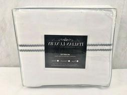 Italian Luxury King Sheet Set White w/ Rope Embroidery Micro