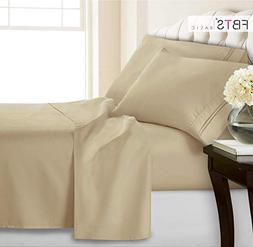 King Sheets, Fitted Flat 4 Piece Bed Sheet Set, 1800 Hotel L