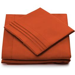 Cosy House Collection King Size Bed Sheets - Burnt Orange Lu