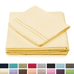 California King Bed Sheets - Pastel Yellow Luxury Sheet Set