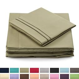 California King Size Bed Sheet Set - Sage Green Cal King Bed