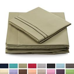 California King Size Bed Sheet Set - Sage Green Cal King Bed