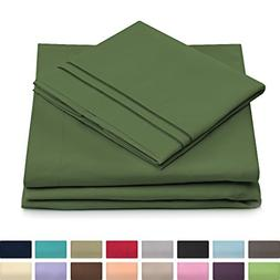 King Size Bed Sheets - Olive Green Luxury Sheet Set - Deep P