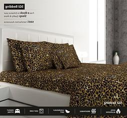 SGI bedding LEOPARD PRINT CALIFORNIA KING SIZE SHEETS LUXURY