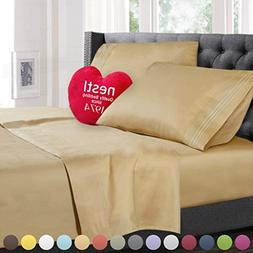 Cal King Size Bed Sheets Set, Royal Gold , Best Quality Bedd