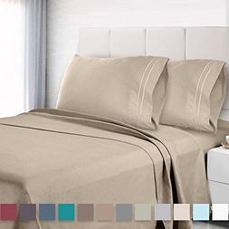 Premium Cal King Sheets Set - Cream Beige Ivory Hotel Luxury