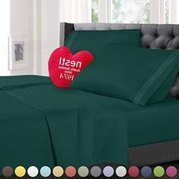 King Size Bed Sheets Set Hunter Green, Highest Quality Beddi