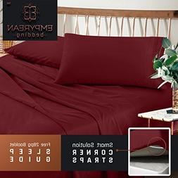 Premium Split King Sheets Set - Red Burgundy Hotel Luxury 5-