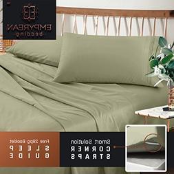 Premium Cal King Sheets Set - Green Sage Olive Hotel Luxury