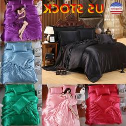 King Size 4 Pcs Satin Silk Bedding Set Duvet Cover Fitted Sh