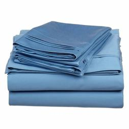 KING SIZE TURQUOISE SOLID BED SHEET SET 800 THREAD COUNT 100