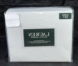 RALPH LAUREN King Grey White Dotted Speckled Sheet Set 4 Pc
