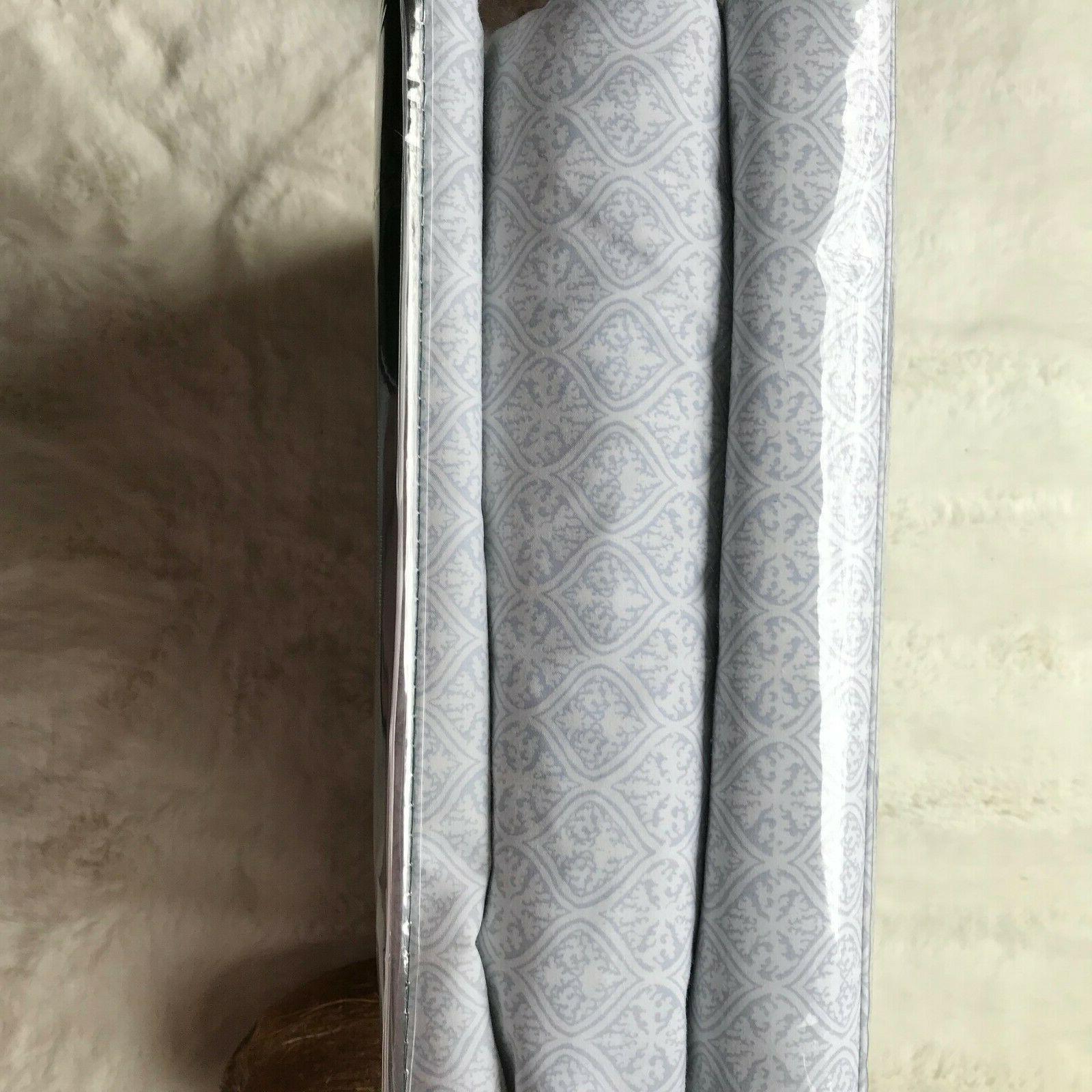LAUREN LAUREN Cotton White/Blue Sheet Set