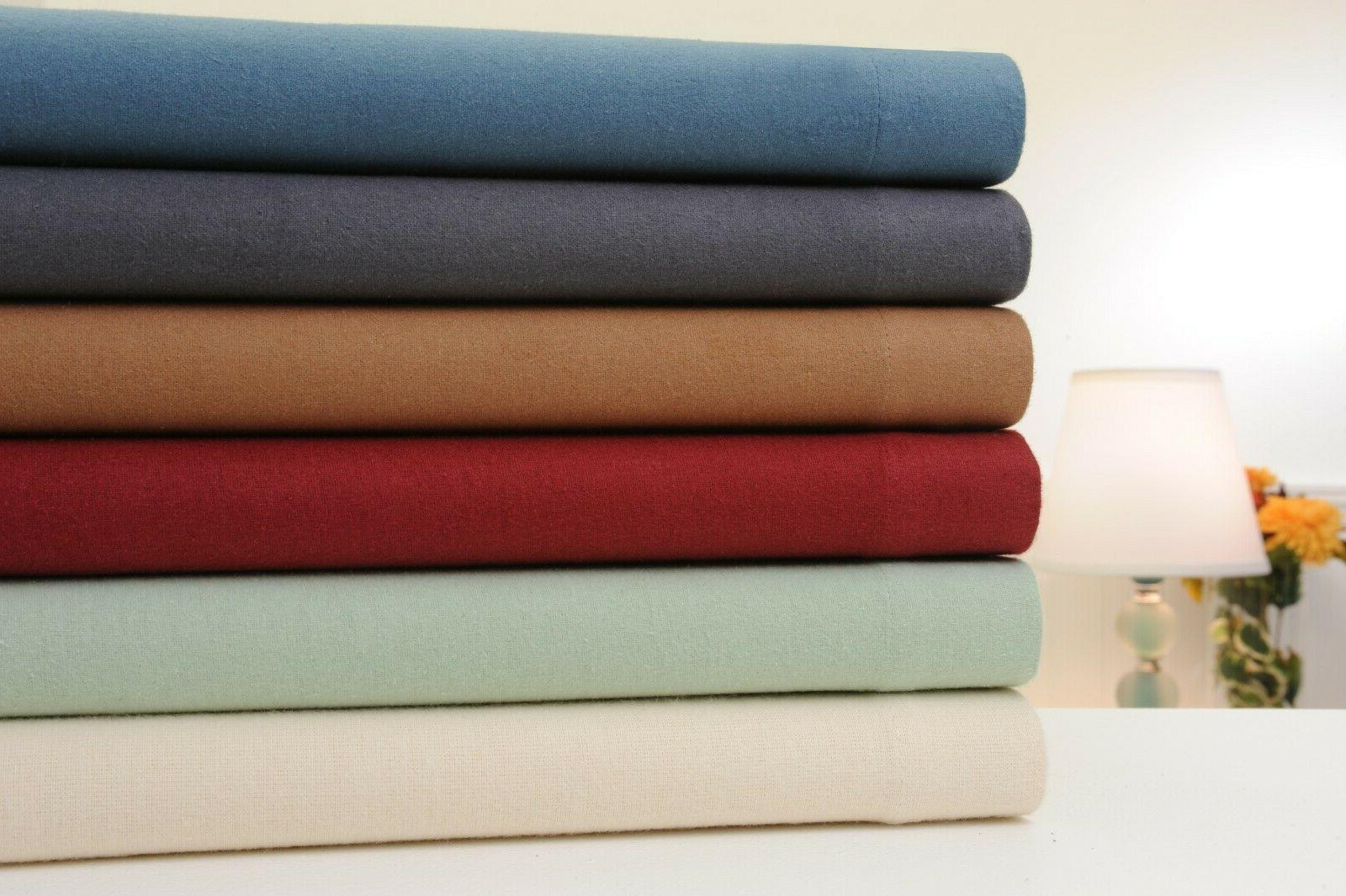 100 percent cotton solid flannel sheet set