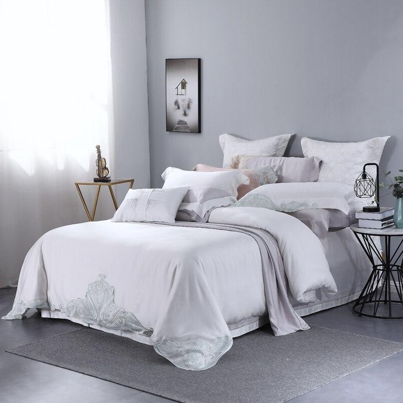 100% Tencel Lyocell Piece Bedding White <font><b>800</b></font> Girl Princess Bed Size