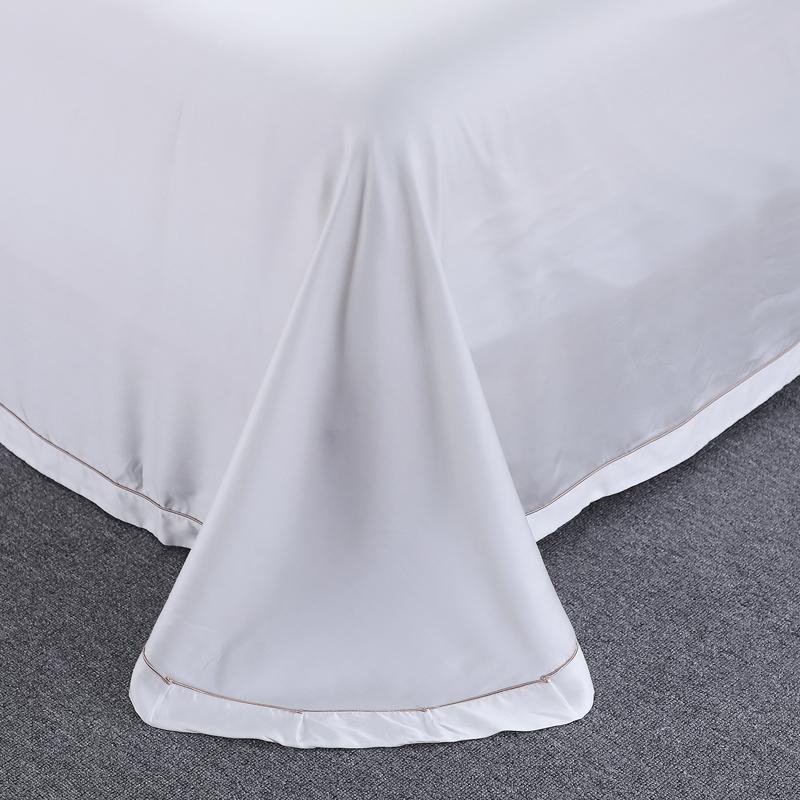 100% Lyocell Piece Lace Bedding White <font><b>Thread</b></font> Girl Soft Bed Linens <font><b>King</b></font> Size