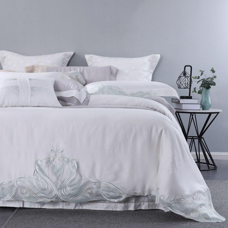 100% Tencel Lyocell Piece Lace Sets White Girl Silky Bed