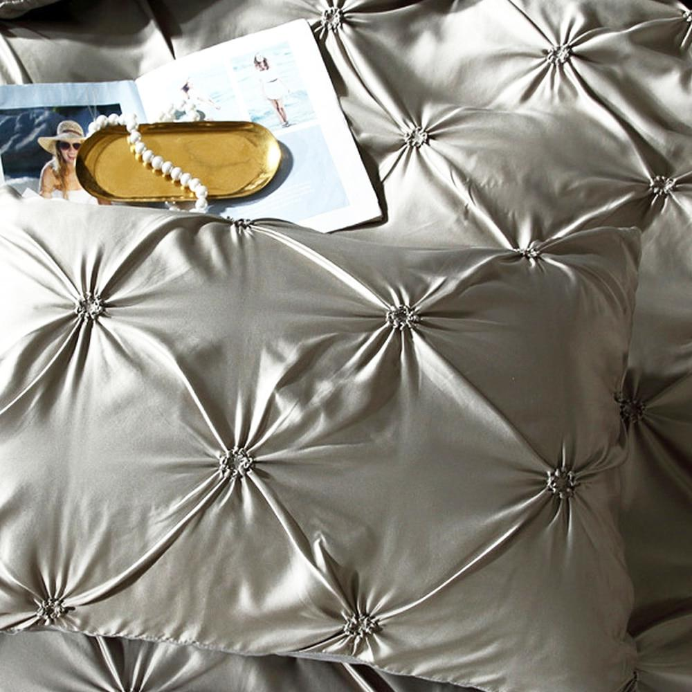 Pinch Pleat Set Luxury Grey Sets Twin Queen Size <font><b>SHEET</b></font>
