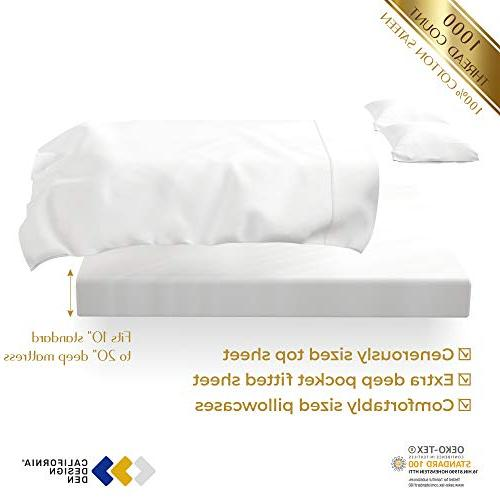 1000 Thread Pure on 4-Pc King Size White Sheet Set, Single Ply Cotton Sateen Weave, Upto 20'' Deep