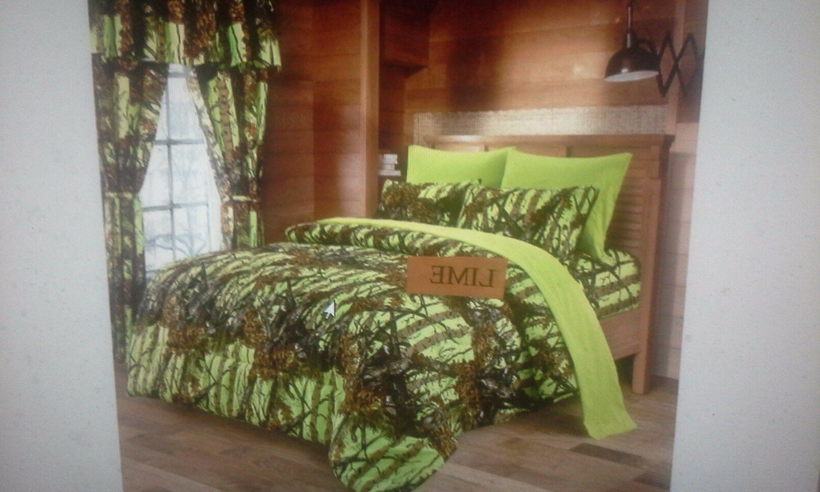 7 Lime Camo Queen sheets/pillowcases