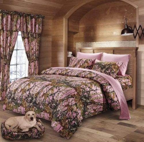 12 pc Pink Camo King size Comforter, sheets, pillowcases and