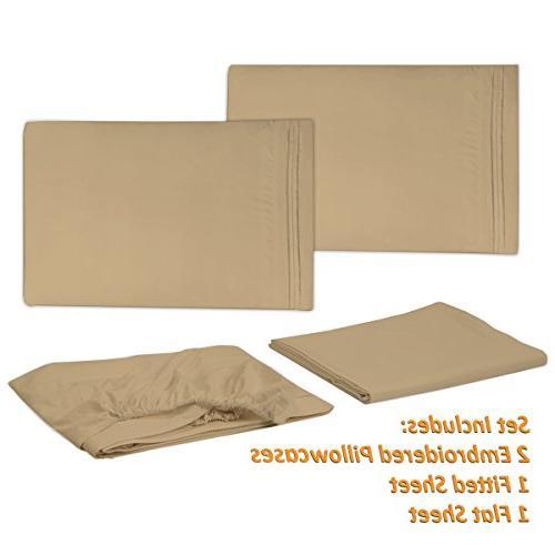 1500 Supreme Soft Camel Luxury Sheets Set Deep Pocket Bedding, Over 40 King