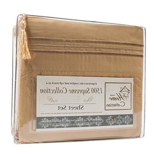 1500 Supreme Extra Soft Camel - Luxury Bed Sheets Set Pocket Wrinkle King Size,