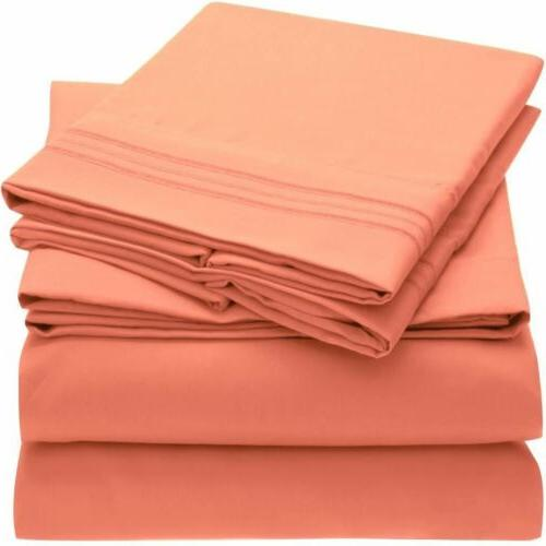 Mellanni 1800 Microfiber Bed Sheet Set Hypoallergenic Light Bedding