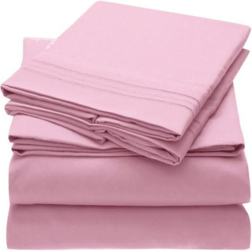 Mellanni Microfiber Bed Sheet Set Hypoallergenic Light Bedding