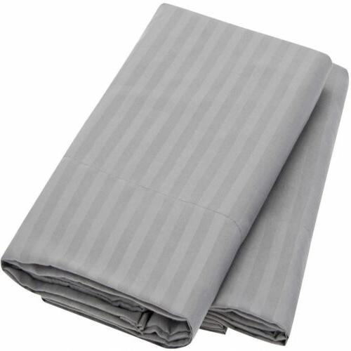 Mellanni 1800 Collection Striped Pillowcase Set - Wrinkle, F