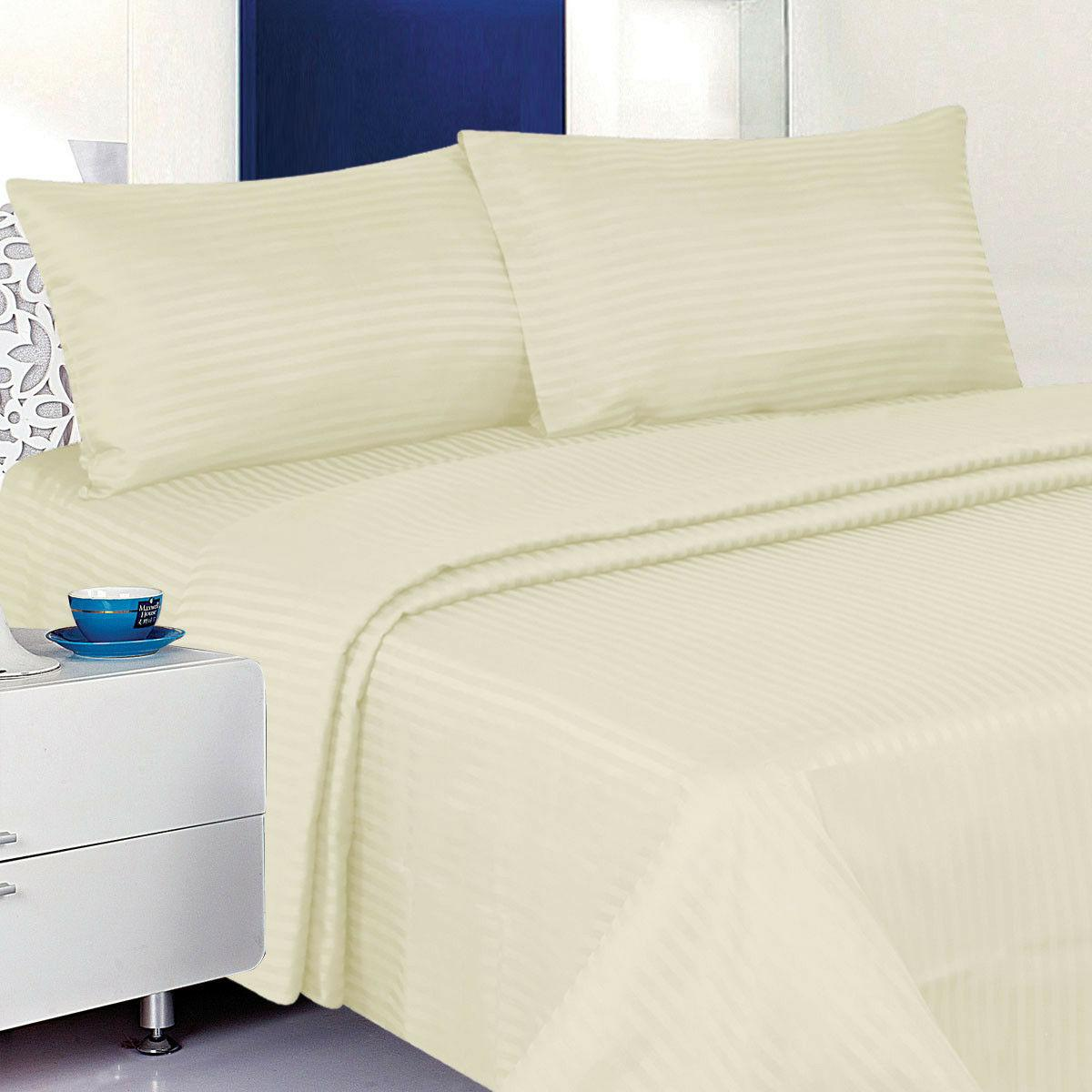 1800 Count Deluxe 4-Piece Dobby Stripe 100% Deep Pocket Bed Set